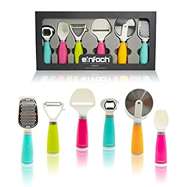LIMITED OFFER einfach™, Simple Premium Essentials 6pc Stainless Steel Kitchen Gadget Tool Set - Peeler, Cheese Slicer, Pizza Cutter, Grater, Ice Cream Scoop, & Multi-function Bottle Opener