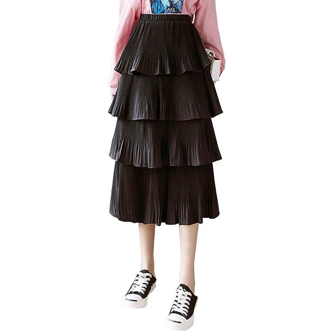 1920s Skirt History Womens High Waisted Chiffon Ruffle Layered Tiered Pleated Midi Long Skirt $19.99 AT vintagedancer.com