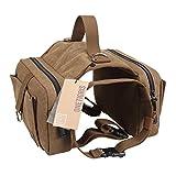 OneTigris Cotton Canvas Dog Pack Hound Travel Camping Hiking Backpack Saddle Bag Rucksack for Medium & Large Dog