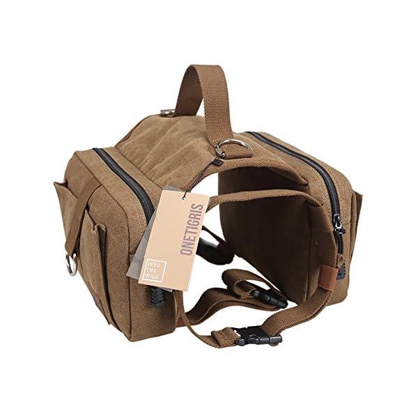 OneTigris Dog Pack Hound Travel Camping Hiking Backpack Saddle Bag Rucksack for Medium & Large Dog (Dog Pack – Cotton Canvas)