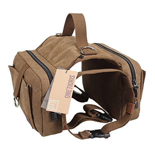 ound Travel Camping Hiking Backpack Saddle Bag Rucksack for Medium & Large Dog (Dog Pack - Cotton Canvas) ()