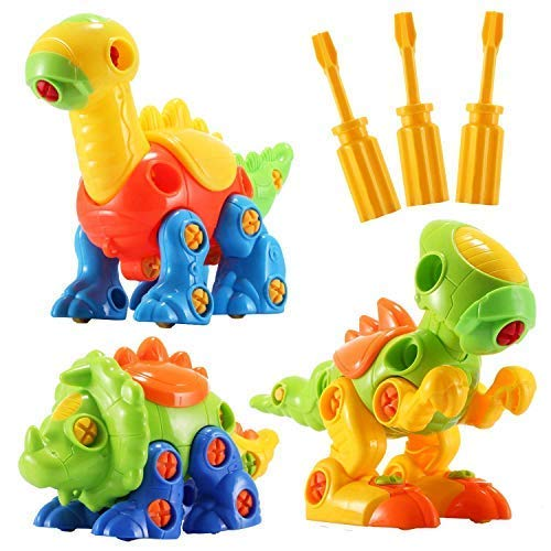 EIAIA Dinosaur Toys STEM Building Toys - 3 Pack Take Apart Toys with Tools, Preschool Learning Toys for Boys Girls Kids Age 3 - 12 Years Old