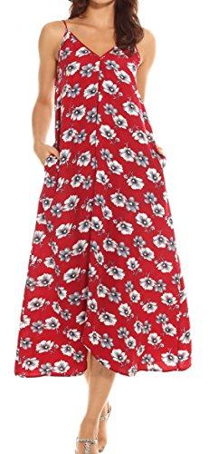(LILBETTER Women V-Neck Polka Dot Print Spaghetti Strap Boho Long Maxi Dresses (M, Red Flower))