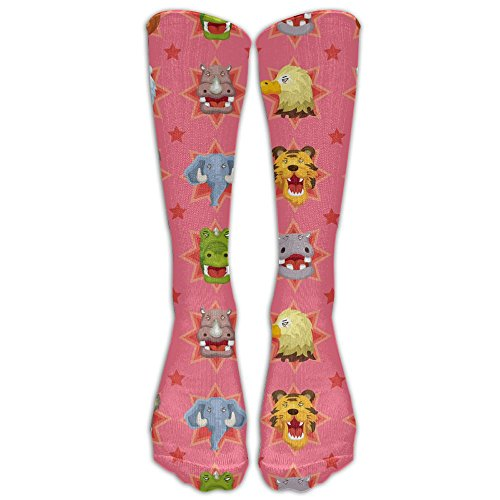 Cartoon Angry Animal Face Women's Cute Long Socks Stockings Baseball Compression Socks Sports High - My Glasses Face Are Best For Which