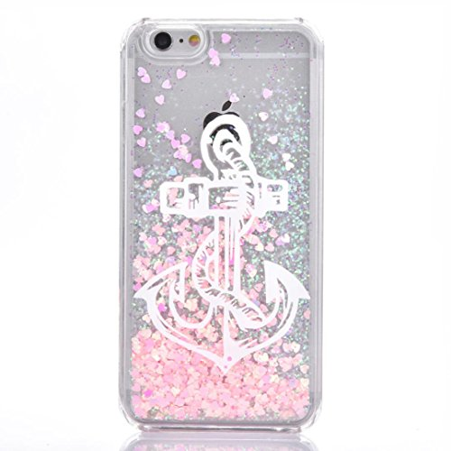 Iphone 6/6s Case,Jesiya Super Beauty White Anchor Pattern Drawing Creative Design Quicksand Flowing Liquid Floating Luxury Bling Glitter Sparkle Stars Hard Case For Iphone 6/6s 4.7