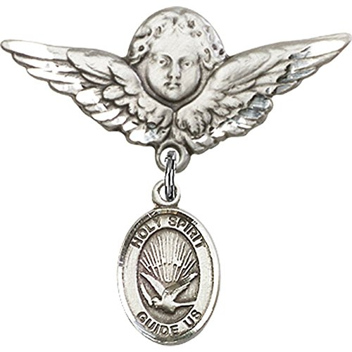 Sterling Silver Baby Badge with Holy Spirit Charm and Angel w/Wings Badge Pin 1 1/8 X 1 1/8 inches by Unknown