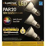 Luminus Elite LED PAR20, 3 pack, 3000K, 50W using 7W, 40 Degree Flood, Dimmable