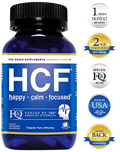 HCF Brain Supplement with Amino-Acids & Vitamins for Memory, Focus, Attention, Mood, Energy. Improve Sleep Quality, Concentration & Learning Abilities. FQ is Different. (90 Count) (Best Vitamin D Supplement For Depression)