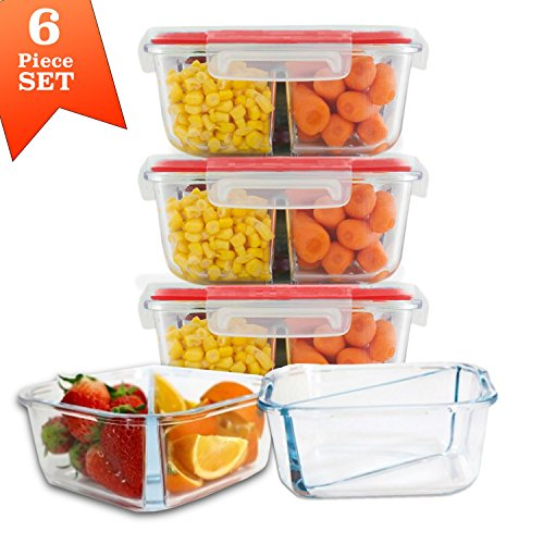 Square 2 Compartment Meal Prep Divided Glass Containers with Snap Lock Vented Lids - BPA Leak Free (32 oz, 4 cups) Microwave Dishwasher Freezer Oven Bake Safe Food Storage - Gift Set (3 Pack) - 4 Vented Lid