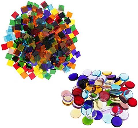 ガラスモザイク モザイクタイル 正方形 丸い ガラスタイル 着色されたガラスモザイク 約260G