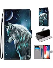 Miagon Full Body Case for iPhone XS/X,Colorful Pattern Design PU Leather Flip Wallet Case Cover with Magnetic Closure Stand Card Slot,Sky Wolf