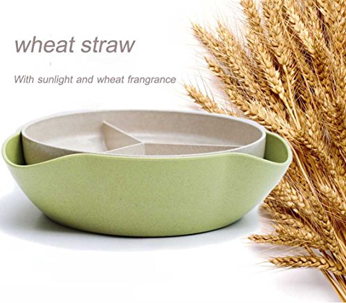 Serving Bowl for Pistachios, Peanuts, Edamame, Cherries, Nuts, Fruits and Candy,Eco-Friendly Wheat Straw Biodegradable (green) (Double Nut Dish)