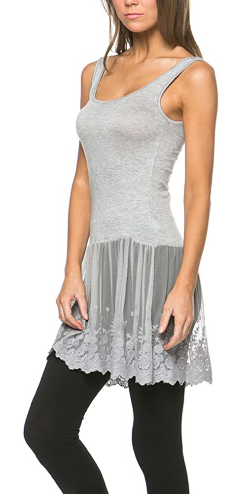 5e6253cb3192b1 Versatile - Women s tank top with lace extender can be worn by itself as a  playful slip dress or use as an undershirt to be worn under a sweater