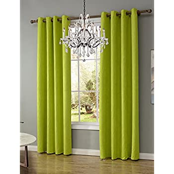 LOHASCASA True Blackout Curtains Baby Room Darkening Noise Blocking Curtains  Short Thermal Curtains Set For Girls 1 Panels (52 By 63 Inch Chartreuse  Green)