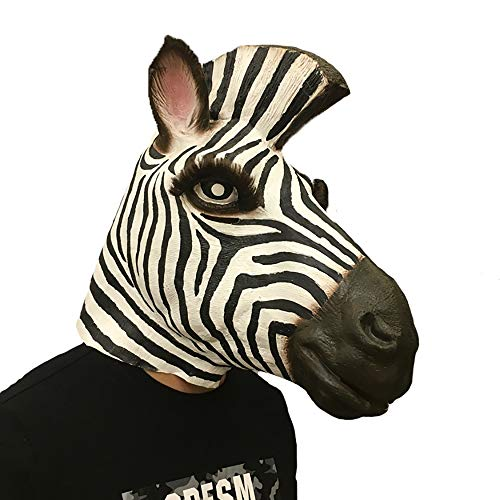 Halloween Horror Ghost Dance Props Latex Zebra Mask Headgear April Fool's Day Dress Up Party Props (Color : Big Zebra) -