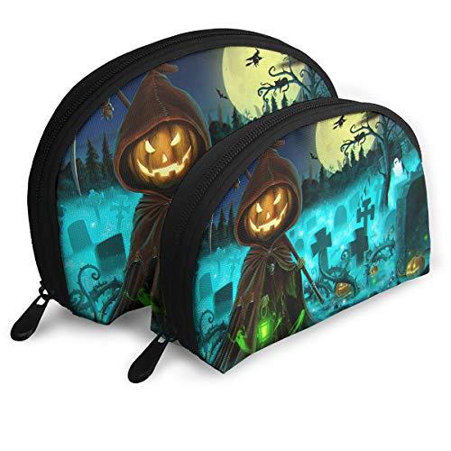 Cosmetic Bag Happy Halloween Pumpkin Grim Reaper Travel Makeup Pencil Pen Case Multifunction Storage Portable - 2 Piece Set