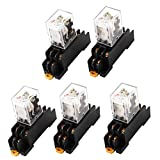 AC 24V Coil Red Light DPDT 8 Pins Power Relay 5 Pcs + Socket Base