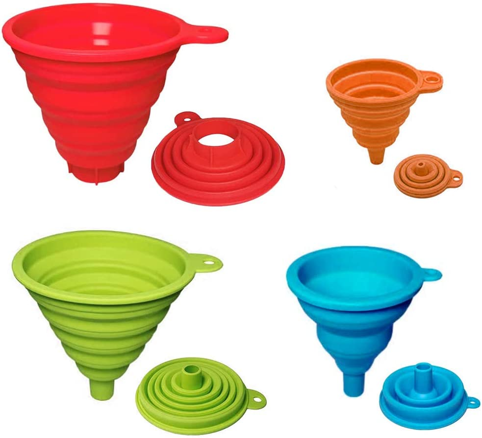 PRAMOO Silicone Collapsible Funnels, Set of 4-12.2/4.8 Inch, 11/4.3 Inch, 8.3/3.2 Inch, 5.9/2.3 Inch, Food Grade Silicone Foldable Kitchen Funnel for Jars, Bottles Transferring of Liquid Solid Bean