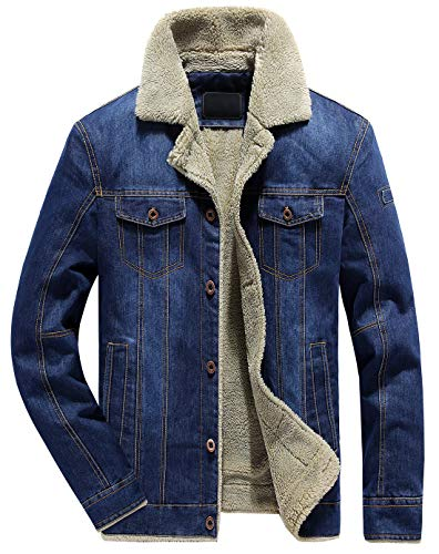 Shearling Mens Car Coat - Chouyatou Men's Classic Button Front Rugged Sherpa Lined Denim Trucker Jackets (Large, Blue)