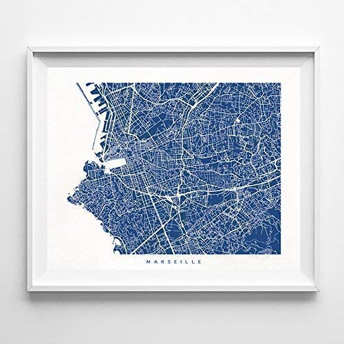 - Marseille France Street Road Map Home Decor Poster Urban City Hometown Wall Art Print - 70 Color Options - Unframed