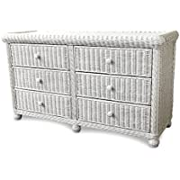 Wicker Paradise GA107 Elana Six Drawer Double Dresser, Large