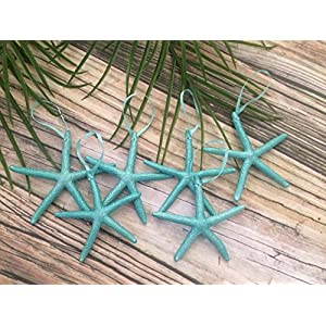 Metallic Turquoise Finger Starfish Christmas Tree Ornaments, Set of 6 110