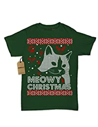 Expression Tees Meowy Chirtsmas Ugly Christmas Holiday Womens T-shirt