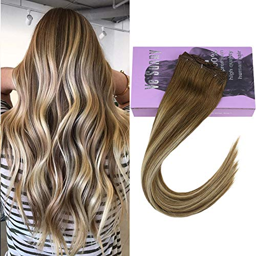 VeSunny Clip in Human Hair Extensions Highlights 14inch #8 Light Brown to #22 Medium Blonde Highlighted Thick Clip in Extensions Full Head Set 7Pcs/120G