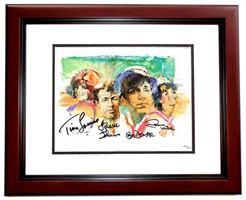 Gilligan's Island Signed - Autographed Lithograph 11x14 inch Photo MAHOGANY CUSTOM FRAME by Tina Louise, Russell Johnson, Bob Denver, and Dawn Wells ()