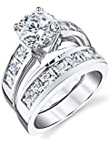 Sterling Silver Bridal Set Engagement Wedding Ring Bands with Round and Princess Cut Cubic Zirconia 6