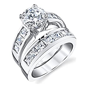 2 Carats Sterling Silver Bridal Set Cubic Zirconia Engagement Wedding Ring Bands with Round and Princess Cut