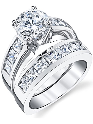 (Sterling Silver Bridal Set Engagement Wedding Ring Bands with Round and Princess Cut Cubic Zirconia)