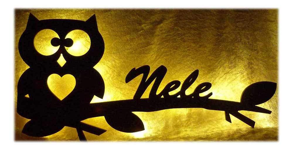 Schlummerlicht24 Ast Eule Hearty mit Name nach Wunsch, Led-Lampe für das Kinder-Zimmer Wohnzimmer Flur Schlafzimmer [Energieklasse A++]