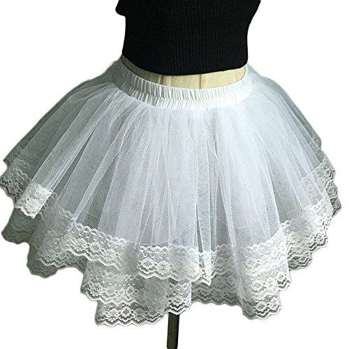 Simlehouse Women's Short Petticoat 4 Layers Tutu Underskirts Crinoline Dresses For Wedding White White FreeSize by Simlehouse