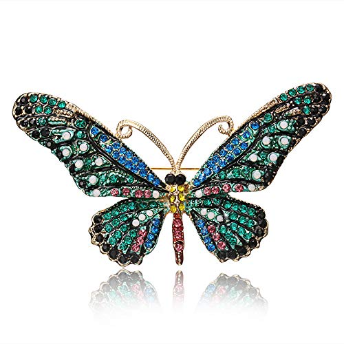 Chili Jewelry Multicolor Vintage Green Butterfly Brooch Pin Rhinestones - Crystal Decoration Corsages Scarf Clips Brooches ()