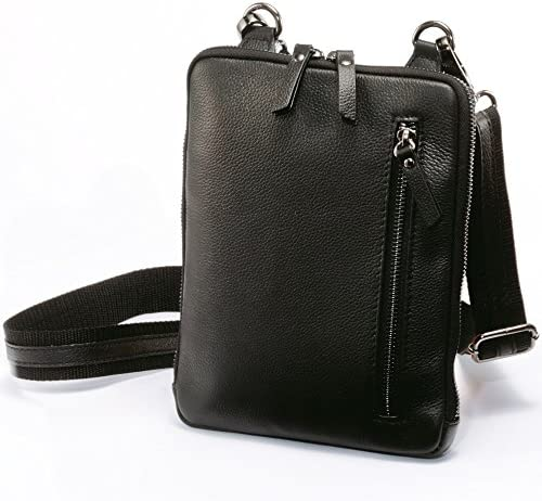 ホースレザー 馬革 スリム ミニショルダーバッグ 薄型かばん メンズ (ブラック)
