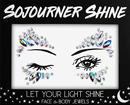 Face Jewels Glitter Gems Rhinestones – Eye Body Jewels Gems | Rhinestone Stickers | Body Glitter Festival Rave & Party Accessories by SoJourner (Unicorn Eyes) -