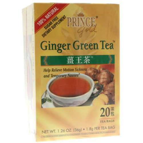 Prince Gold Tea, Ginger Green, 16 Tea Bags (Pack of 4)