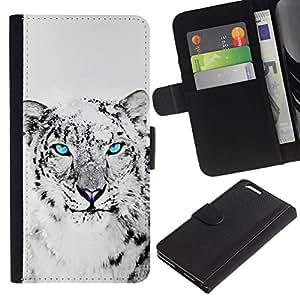 All Phone Most Case / Oferta Especial Cáscara Funda de cuero Monedero Cubierta de proteccion Caso / Wallet Case for Apple Iphone 6 PLUS 5.5 // Snow Leopard Black White Animal Cat