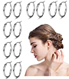 FIBO STEEL 6 Pairs Stainless Steel Small Hoop Earrings for Men Women Huggie Hoop Earring Set Silver-tone 12MM