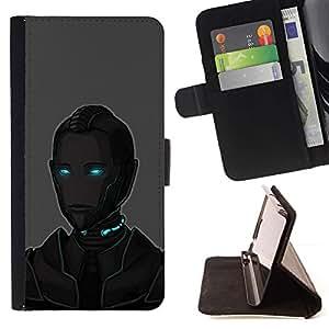 Momo Phone Case / Flip Funda de Cuero Case Cover - Arte Ojos azules Robot Ai Tecnología Futuro - Sony Xperia Z5 5.2 Inch (Not for Z5 Premium 5.5 Inch)