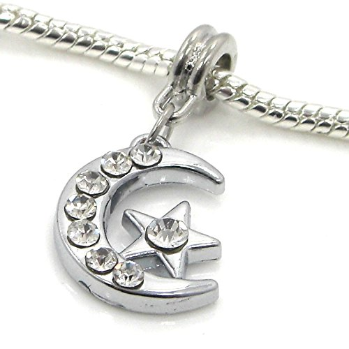 """Jewelry Monster Dangling """"Star and Moon w/ White Crystals"""" Charm Bead for Snake Chain Charm Bracelet"""