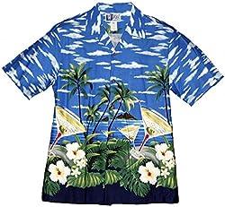 RJC Brand Hibiscus Martinis Men's Hawaiian Shirt Royal Blue 3X