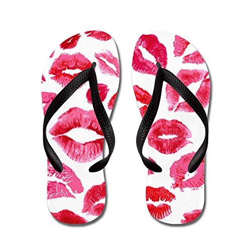 CafePress Lipstick Prints - Flip Flops, Funny Thong Sandals, Beach Sandals Black