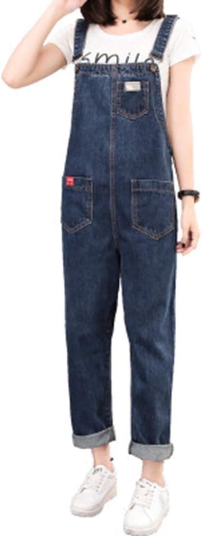 CCDYLQ Verstellbare Riemen Denim-Jeans-Latzhose Damen Breite Beine Hosen-Blick Klasse Vintage-Jeans Lange L/ässige Baggy Freund stilvoller Overall,XL