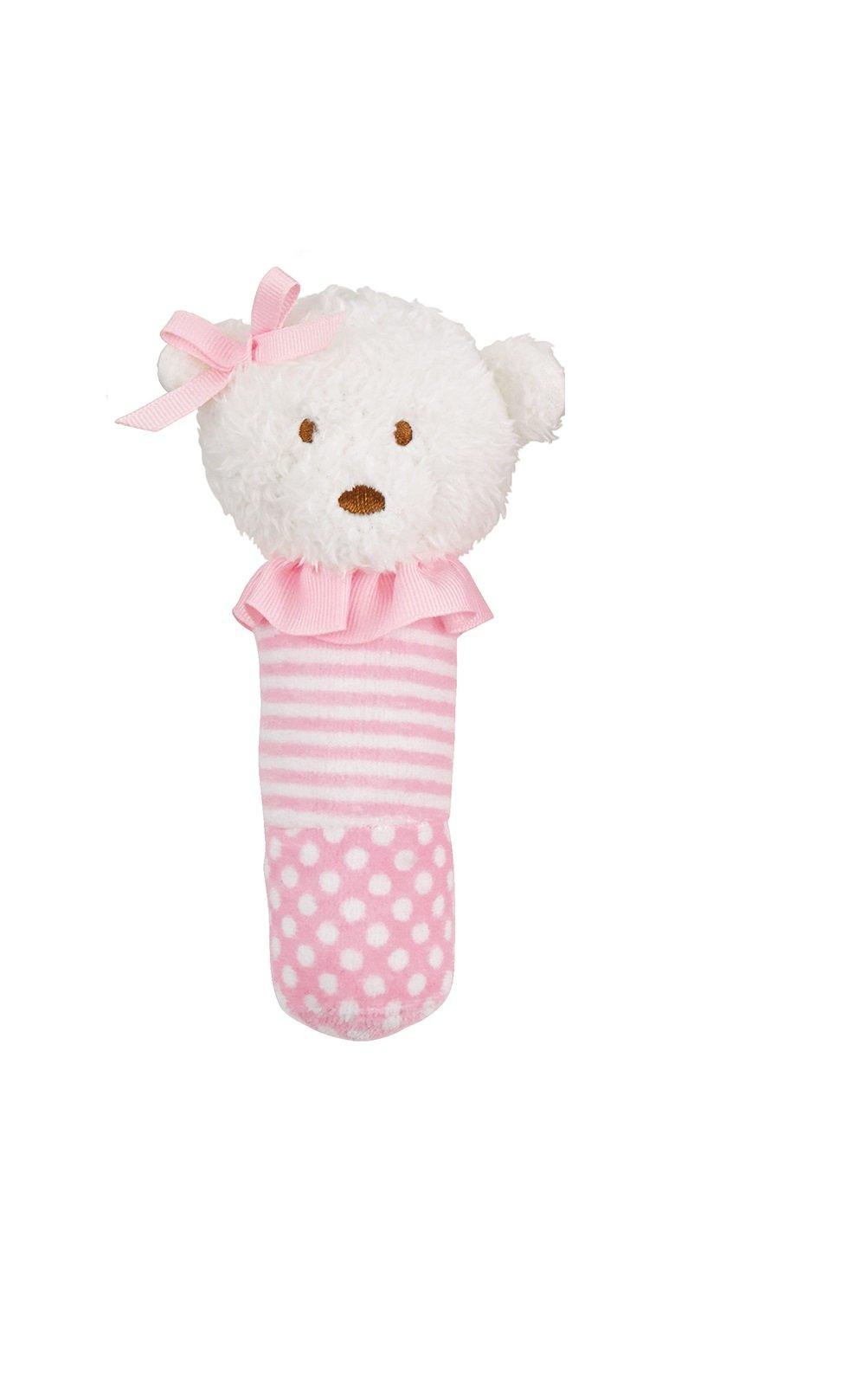 Mud Pie Sweetheart Baby Girl Princess Pink Plush Stick Rattles (Bear)