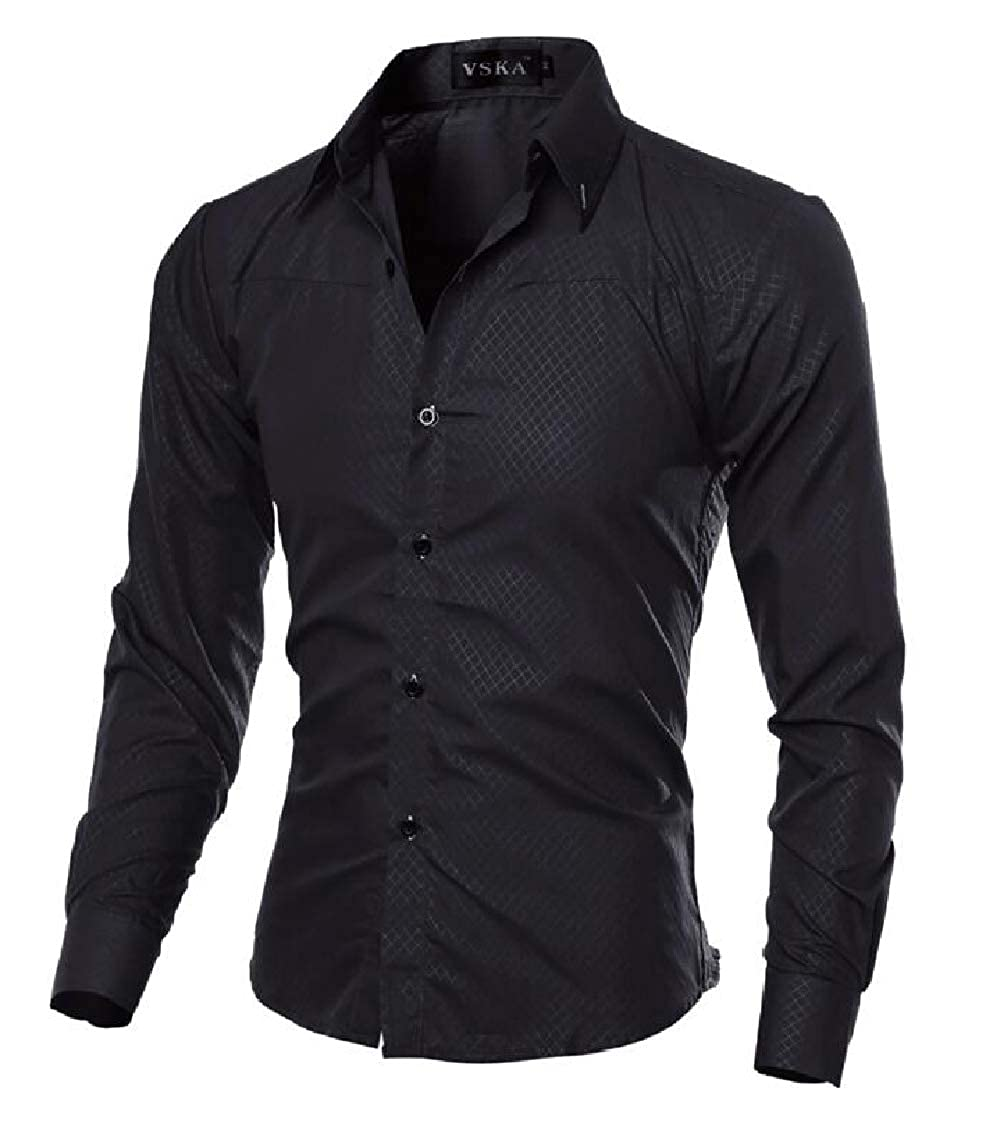 Nanquan Men Stretchy Plus Size Bamboo Fiber Dress Long Sleeve Slim Fit Button Down Shirts