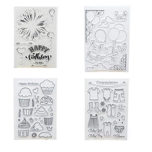Birthday Stamp Set - Welcome to Joyful Home 4pcs/Set Happy Birthday Rubber Clear Stamp for Card Making Decoration and Scrapbooking