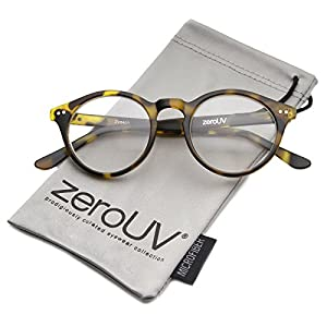 zeroUV - Vintage Inspired Clear Lens Small Circle Round Sunglasses (Yellow Tortoise / Clear)