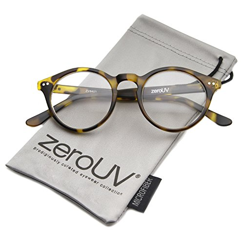 zeroUV - Vintage Inspired Clear Lens Small Circle Round Sunglasses (Yellow Tortoise / - Glasses Round Mens